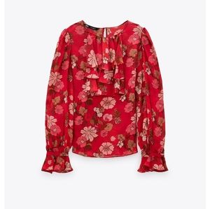 Zara Floral Ruffled Blouse